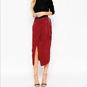ASOS Suede Pencil Skirt With Obi Self Belt